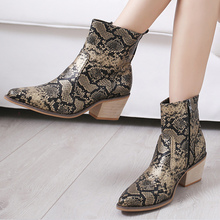 Snake print women boots Big size 43 zipper Non slip Mid calf for female Beautiful Casual shoes