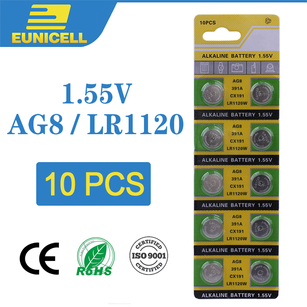 10pcs Alkaline Cell Coin Battery 1.55V AG8 LR1120 Button Batteries 191 LR55 391 SR1120 LR1120W CX191 G8A AG 8 For Watch Toys
