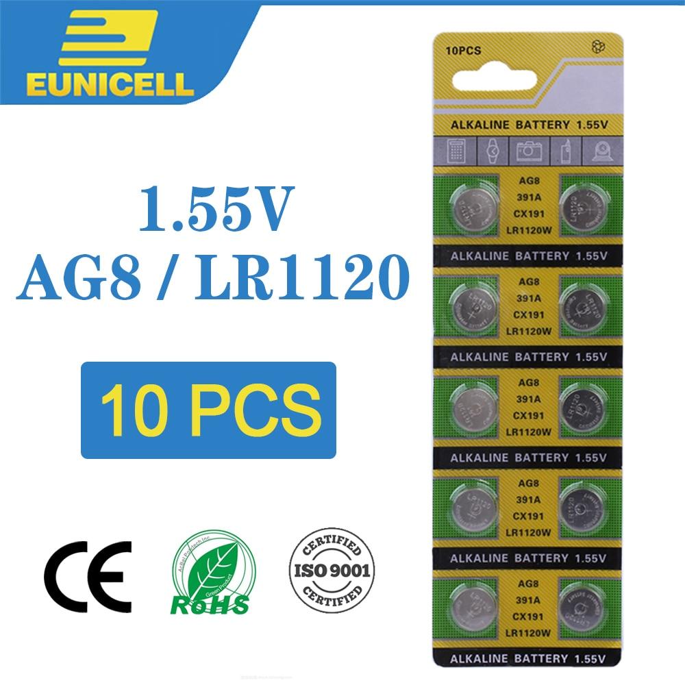 10pcs Alkaline Cell Coin Battery 1.55V AG8 LR1120 Button Batteries 191 LR55 391 SR1120 LR1120W CX191 G8A AG 8 For Watch Toys