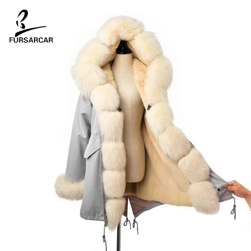 FURSARCAR Coats Female Jackets Parka Hood Fox-Fur-Collar Real-Rabbit-Fur Winter Women