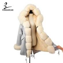 FURSARCAR 2019 Winter New Women Real Rabbit Fur Liner Parka Coats Female Jackets And Coats With Fox Fur Collar Hood Thick Coats все цены