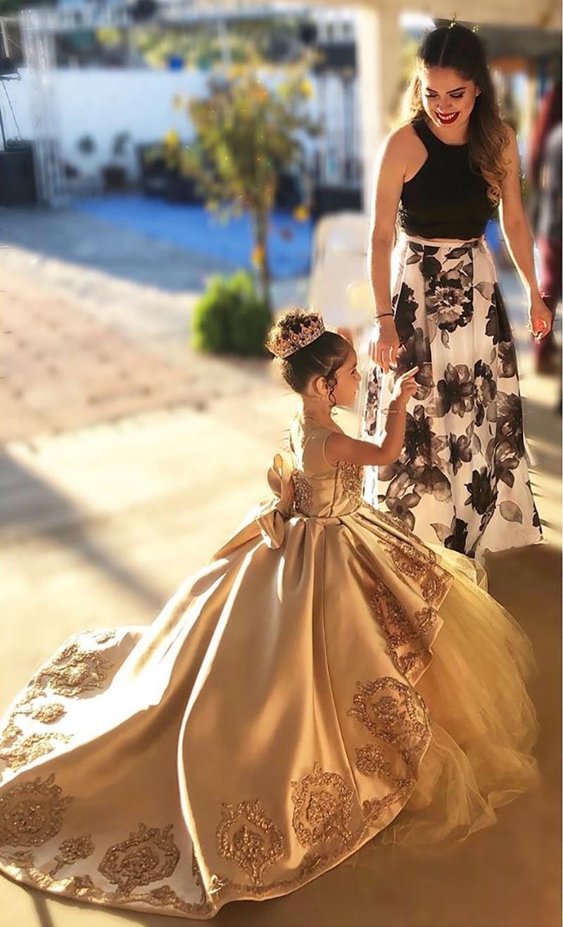 Golden Lace Flowert Girls Dresses Golden Girls Pageant Luxury Girls Dresses Ball Gowns Custom