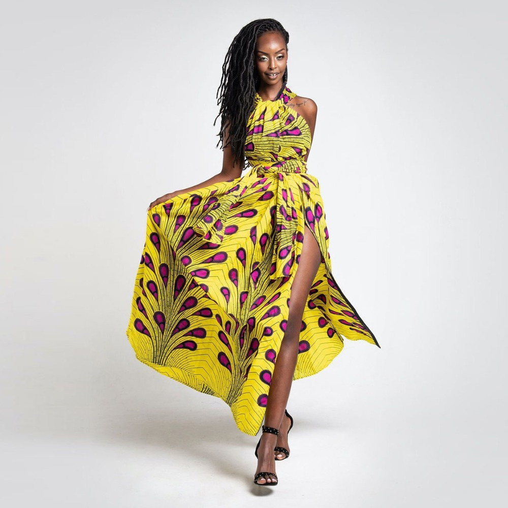 2021 Fashion Summer African Dresses for Women Kanga Traditional Africa Clothing Long Maxi Party Dress For Lady Multiple Wear