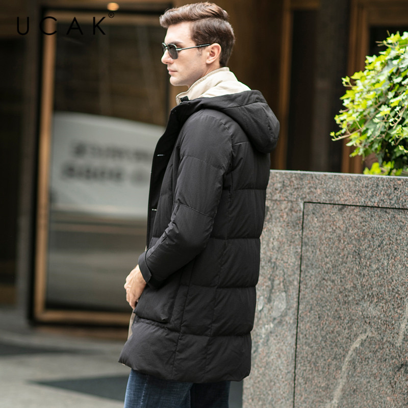 UCAK Brand Grey Goose Down Jackets Male Long Fashion Stylish Pockets Hooded Modern Casual 2019 Winter Men Clothing Jacket U8028