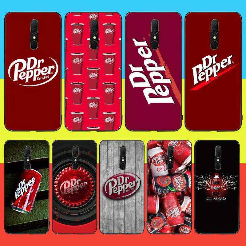 CUTEWANAN Dr Pepper Red Soft Silicone Black Phone <font><b>Case</b></font> For <font><b>Oppo</b></font> <font><b>A5</b></font> A9 <font><b>2020</b></font> Reno Z Realme5Pro R11 <font><b>case</b></font> image