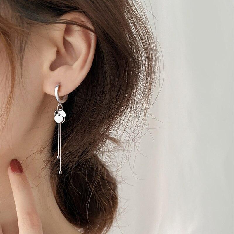 XIYANIKE 925 en argent Sterling nouveauté rond marque gland longues boucles d'oreilles tempérament Sexy mode INS bijoux faits à la main 4