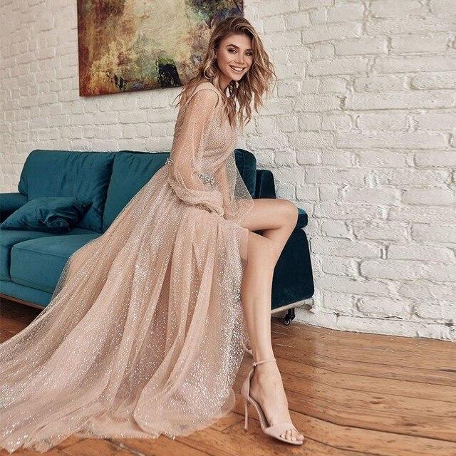 Купить vestidos de noiva шампанское блестящие вечерние платья 2021 картинки