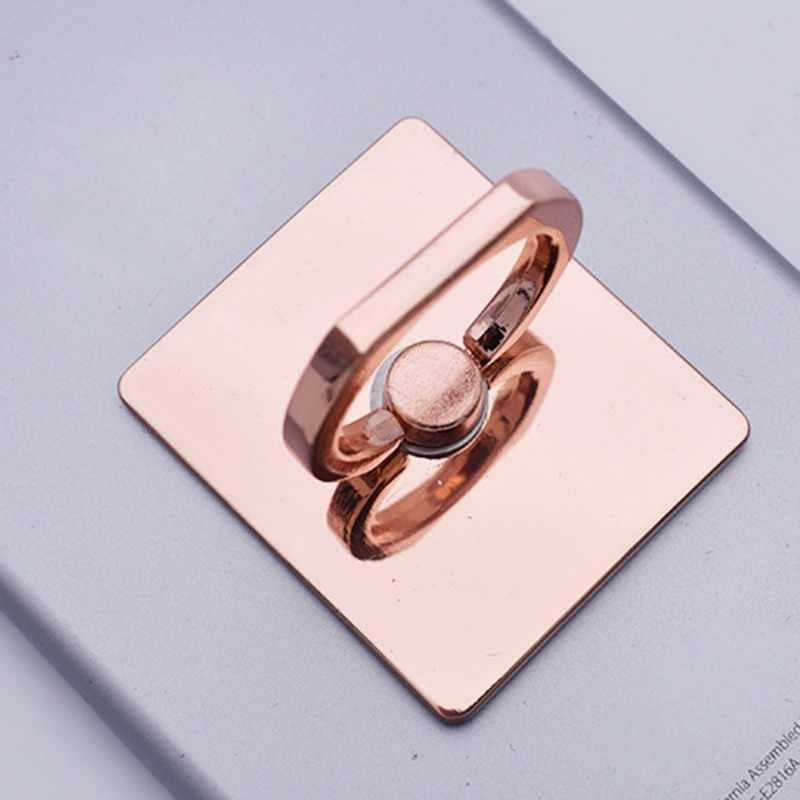 HOT Rose-Gold ชุบโลหะสแควร์นิ้วมือแหวนวงเล็บโทรศัพท์มือถือผู้ถือยึดรถแม่เหล็กอุปกรณ์เสริม p