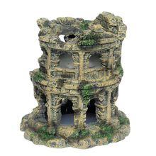Nuevo Coliseo acuario paisajismo del tanque de peces decoración Vintage Casa de resina escondite para criar gambas cueva escondite refugio