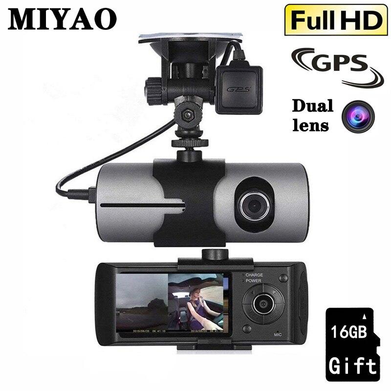 GPS voiture DVR caméra enregistreur HD avant + intérieur 1080P Double lentille vidéo Registrars véhicule caméra voiture Dashcam g-sensor Dash Cam Dvrs
