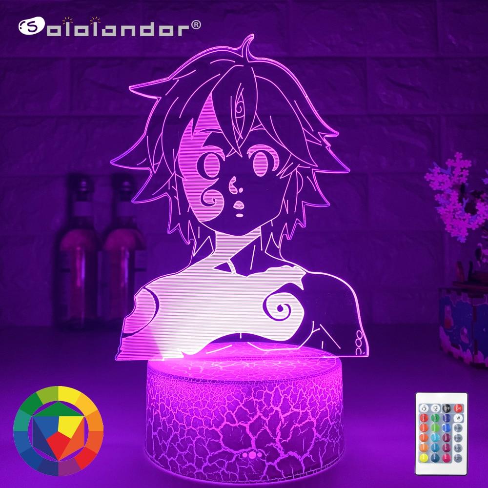 Японская фигурка манга семи смертных грехов, 3D иллюзия, лампа, силуэты мелиодаса, горячий ночсветильник из аниме для украшения дома, спальни
