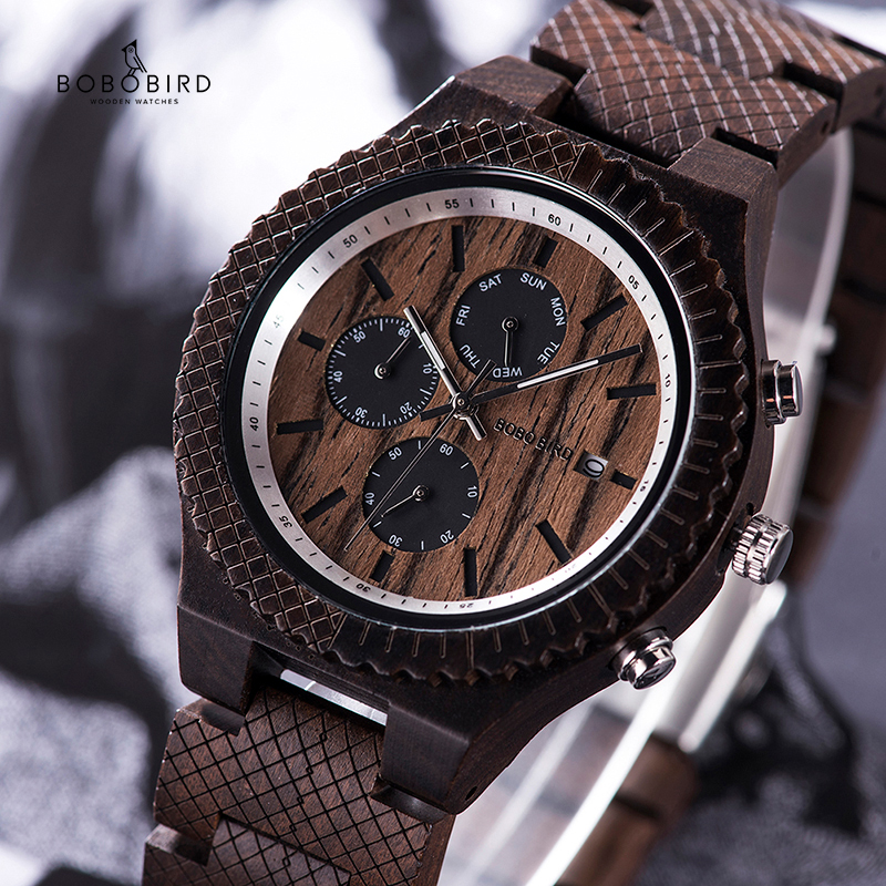часы мужские BOBOBIRD Rosewood Wood Watch Men Relogio Masculino Quartz Male StopWatches Show Date Christmas Valentine's Day Gift