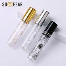 100 pçs/lote 10ml portátil flor padrão frasco de perfume vidro com atomizador vazio cosméticos mini garrafas recarregáveis