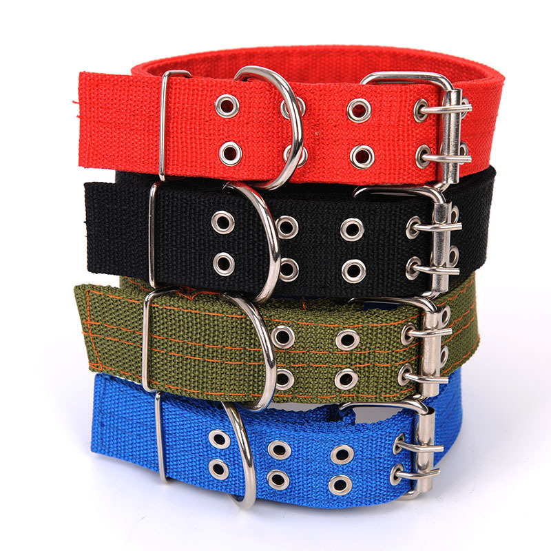 Golden Four Layer Nylon Weaving Pet Collar Pet Dog Bite-proof Protector Double Row Metal Buckle Large Dog Dog Neck Ring