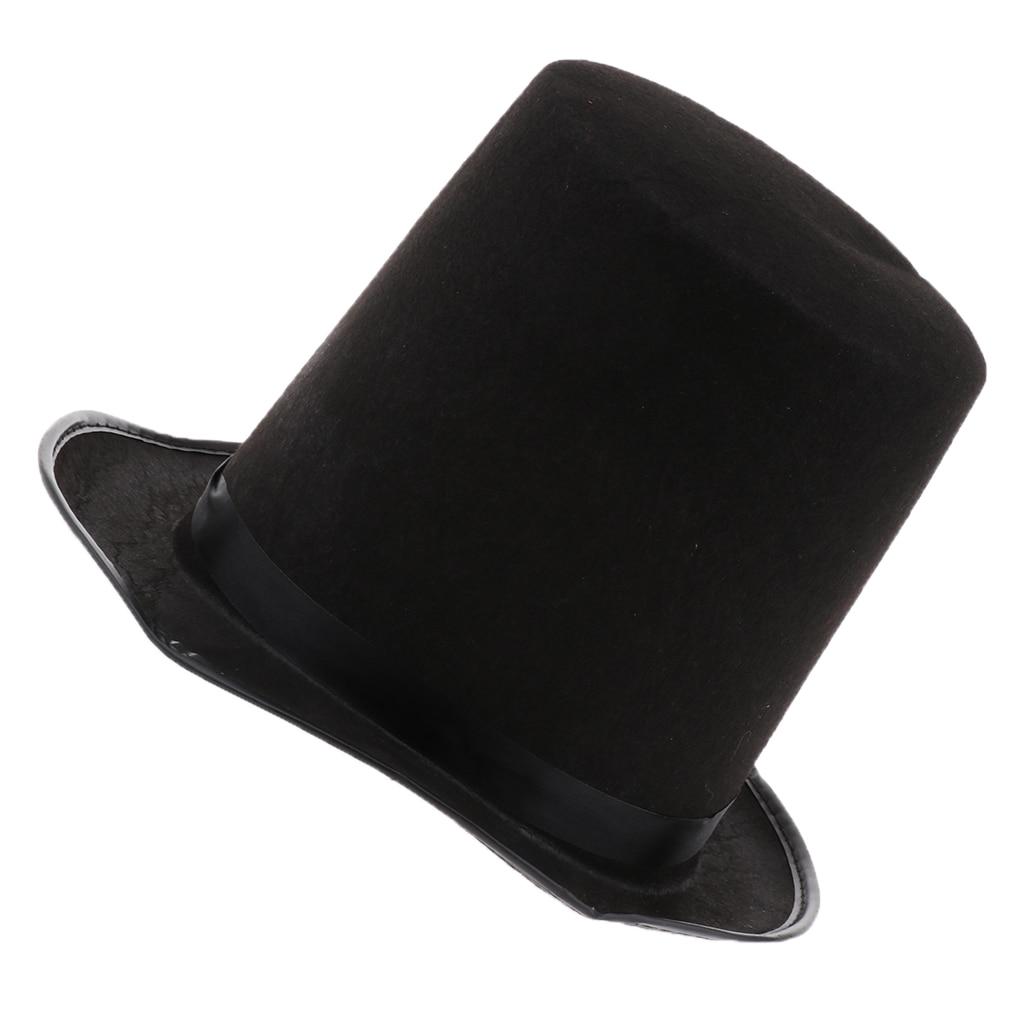 Fun Plain Felt Satin Hat Circus Magician Cap Costume Dressing up Accessory Favor for Men Women