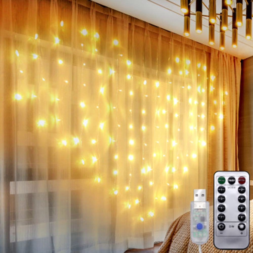 Garland Christmas Lights Outdoor Indoor USB Remote Control Heart LED Curtain String Fairy Light Xmas Tree Wedding Decoration