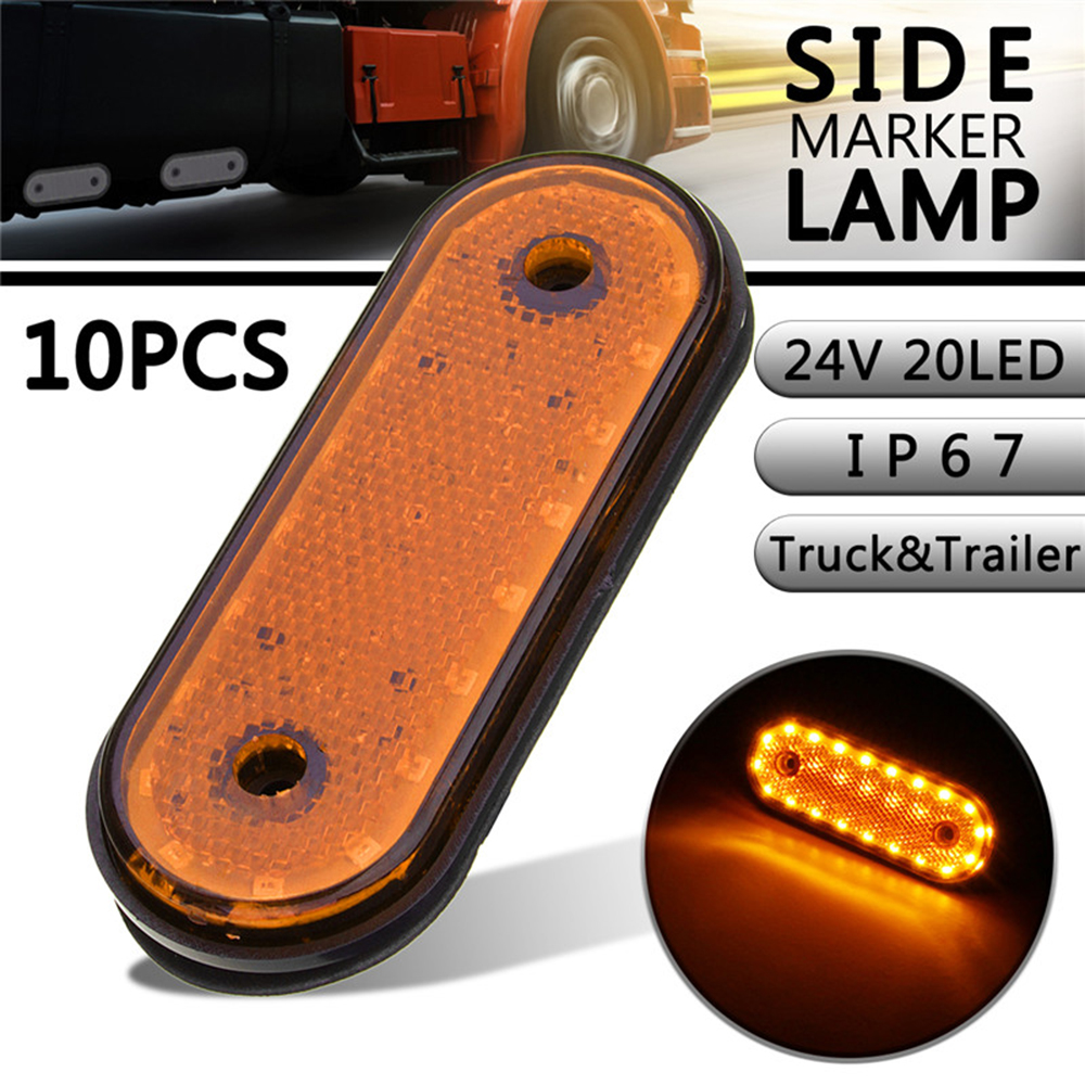 10 Pcs 24V Yellow Shell Yellow Light Marker Light Side Marker LED Trusk Lamp Pickup Truck Side Marker Lights For Truck Side