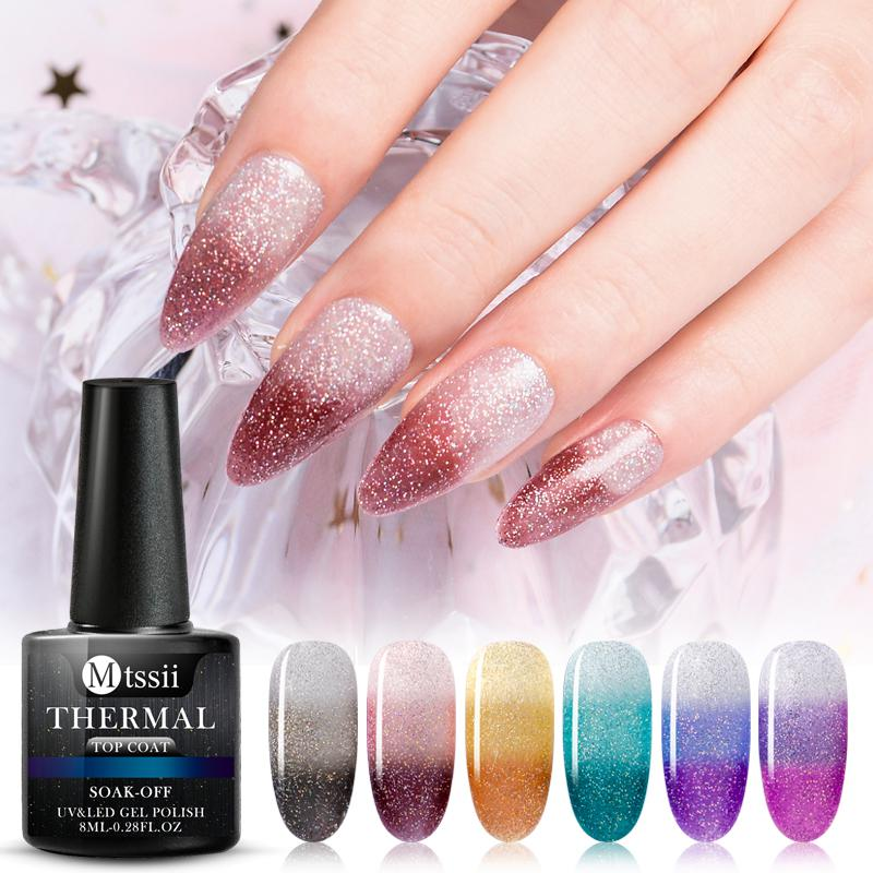 Mtssii Thermal Gel Polish Soak Off Temperature Color-changing Shimmer Glitter Varnish Lacquers Shiny Sequins Nail Polishes