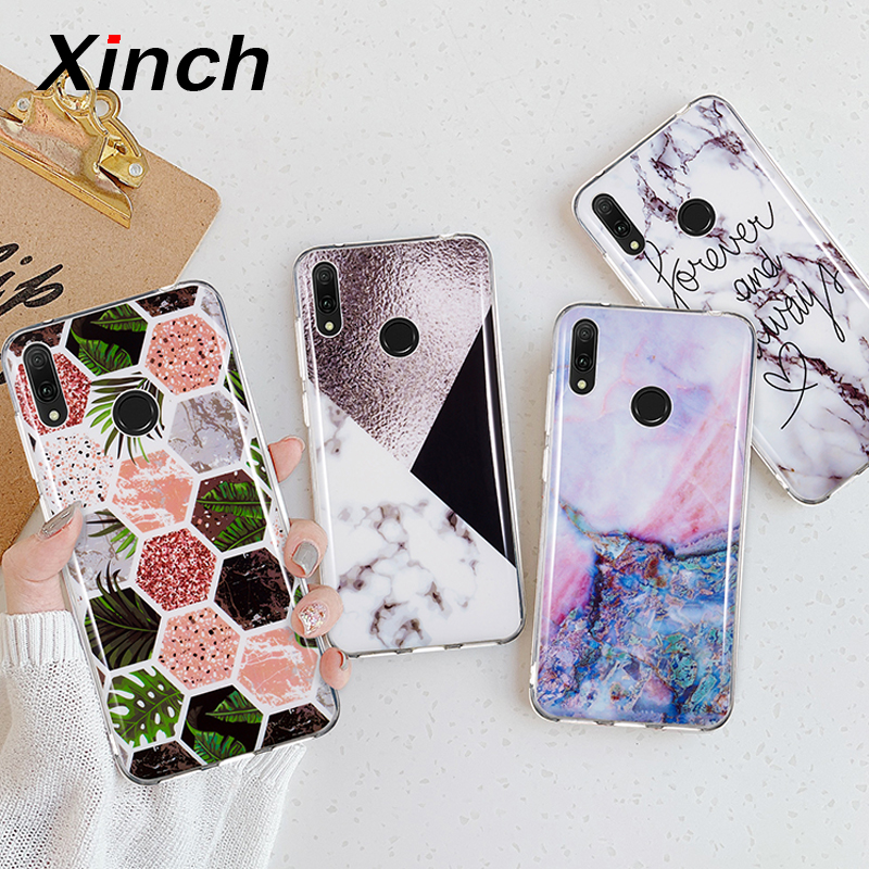 Xinch TPU <font><b>Silicone</b></font> Case For <font><b>Huawei</b></font> Y6 <font><b>2019</b></font> Y9 <font><b>Y5</b></font> Y3 Y7 Prime 2018 Y6 Pro 2017 Back Cover on Art Marble Leaf Phone Coque Fundas image