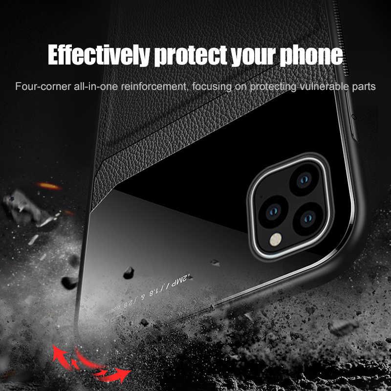 Deri ayna iphone için kılıf 11 pro kamera lens koruma kapağı üzerinde için apple iphone 11 pro max 11pro silikon Coque