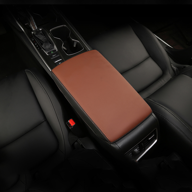 Image 3 - Leather Car Armrest Pad Covers Console Auto Seat Arm Rest Pad Protection Cushion Mat AT For Honda Accord 10th 2018 Accessories-in Interior Mouldings from Automobiles & Motorcycles