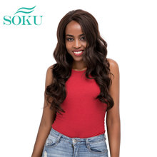 Natural Black Lace Front Synthetic Wigs Long Wave Free Part
