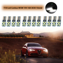 T10 Led Canbus W5W 194 168 3030 10smd Car Side Wedge Light Lamp Bulb Interiror Dome Light Error Free Auto Clearance Signal Light 2pcs white t10 wedge light 194 168 6w cob led car canbus no error side signal lamp bulb auto reading number plate lights
