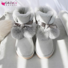 G&Zaco Luxury Genuine Sheepskin Boots Shoes Women Sheep Wool Boots Australia Snow Boots Sweet Bow Fox Flat Fur Winter Boot Shoes цены онлайн