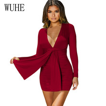WUHE Sexy Bandage Bodycon Deep V Dress Casual Long Sleeve Party Club Mini New Fashion Hollow Out Slim Pleated Short