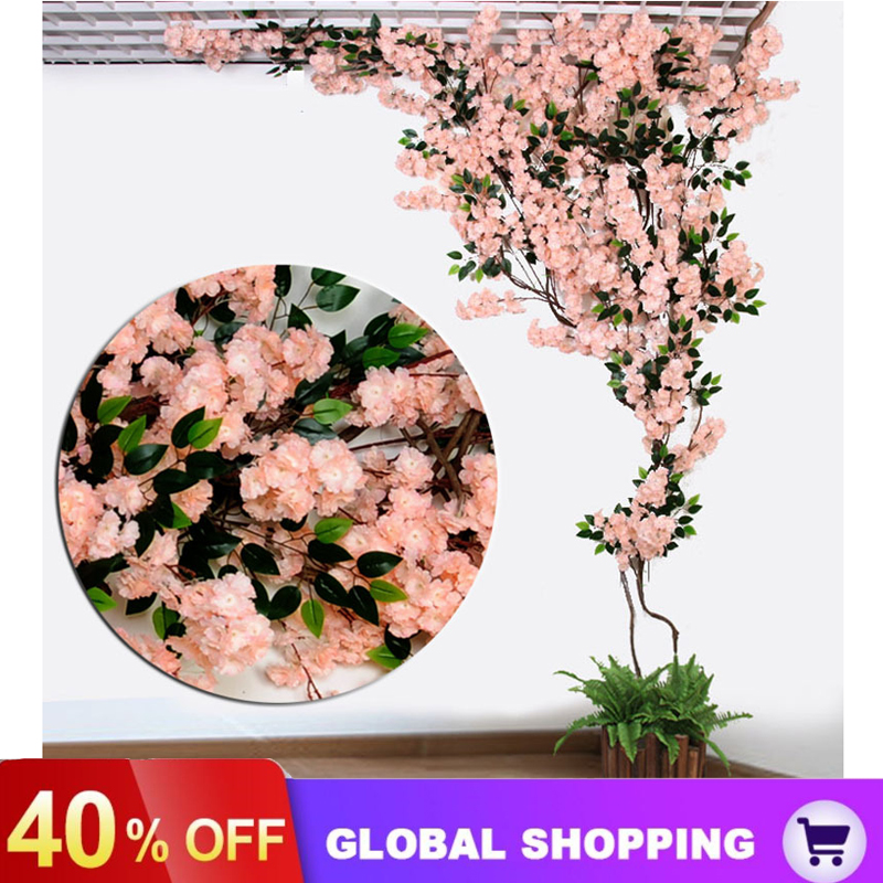 Multi-style Artificial Flower Cherry Blossom Branch Home Ceiling Rattan  Landscaping Wedding DIY Arch Decor