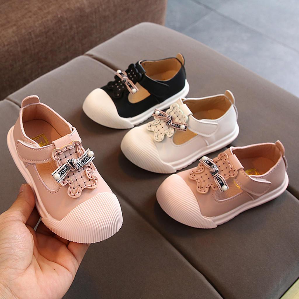 Baby Girl Hook & Loop Shoes Toddler Infant Kids Girls Cute Cartoon Pearl Princess Leather Shoes FH5