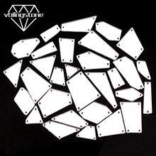 30 шт. смешанные формы сшитое Зеркало со стразами пришивное Хрустальное плоское с оборота акриловое Стразы для платья Ткань Нерегулярные стразы аппликация