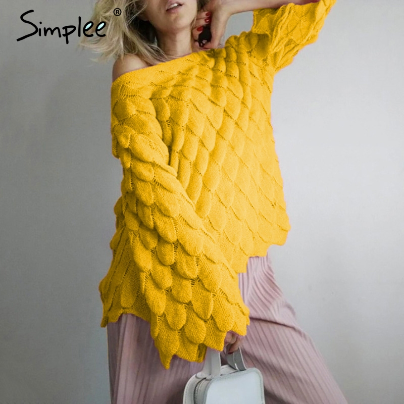 Simplee Sexy Off Shoulder Female Pullover Sweater Long Toned Horn Sleeve Women Sweater Autumn New Fashion Casual Sweater Street