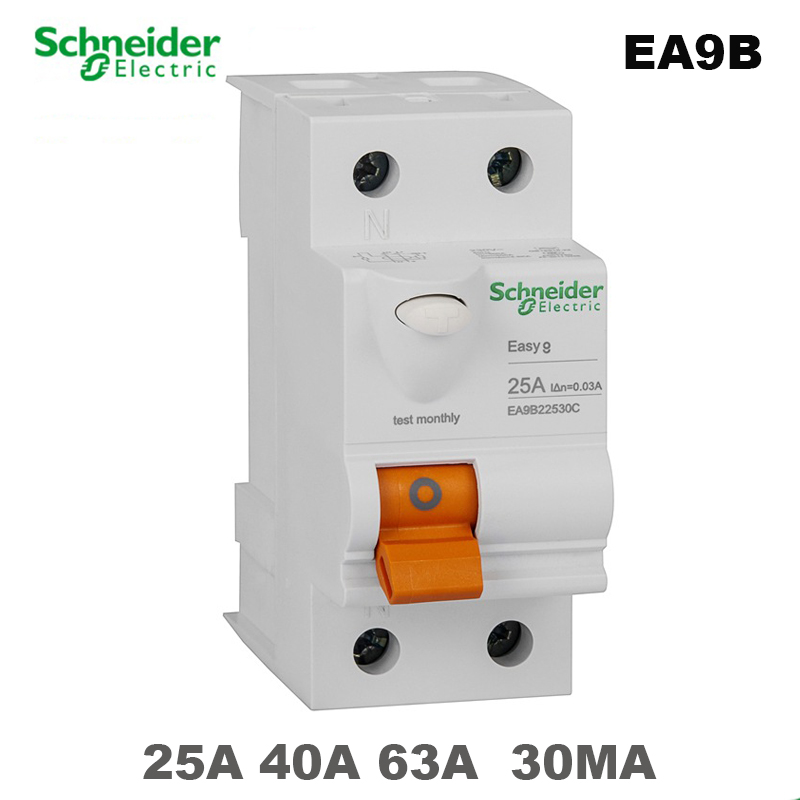 Schneider EASY9B 230VAC 2P25A 40A 63A 30MA Leakage Circuit Breaker Protectio Switch Residual Current Operation Protection Device