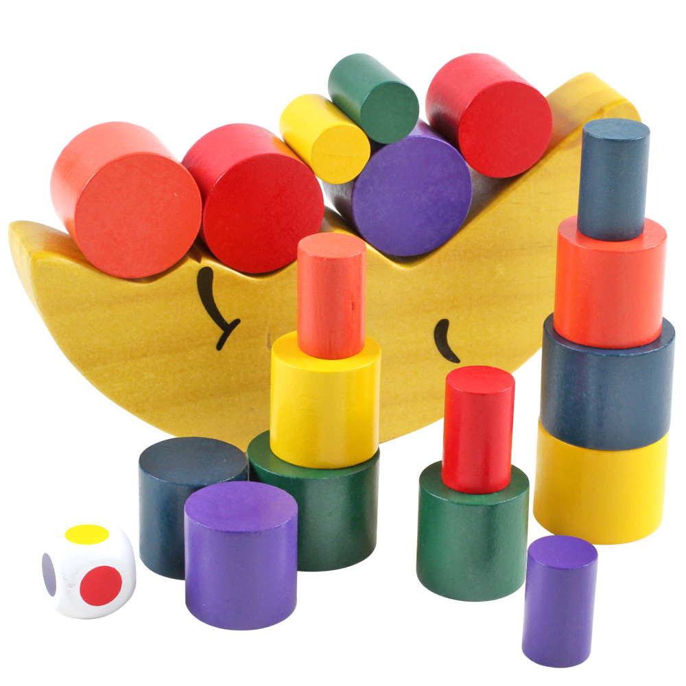 Ingenious Wood Toys Moon Balanced Building Blocks Stacked High Mongolian Early Childhood Education Interactive Games Stacked