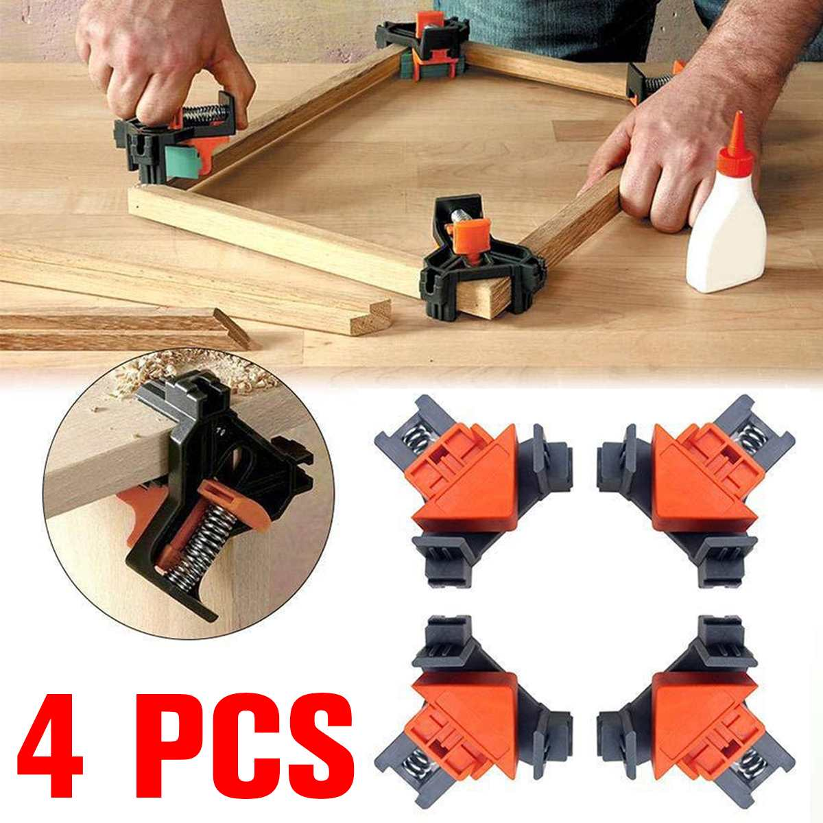 4 Uds. 90 grados de ángulo recto de esquina Clips Kit de fijación regla marco de imagen abrazadera de esquina carpintería herramienta de mano abrazaderas angulares