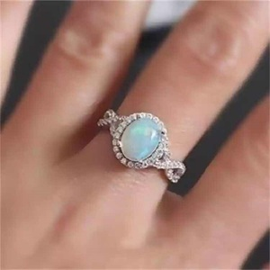 Classic Silver Ring Oval Fire Opal Stone Rings For Women Gir Fashion Wedding Engagement Gift Luxury Jewelry Dropshipping(Hong Kong,China)