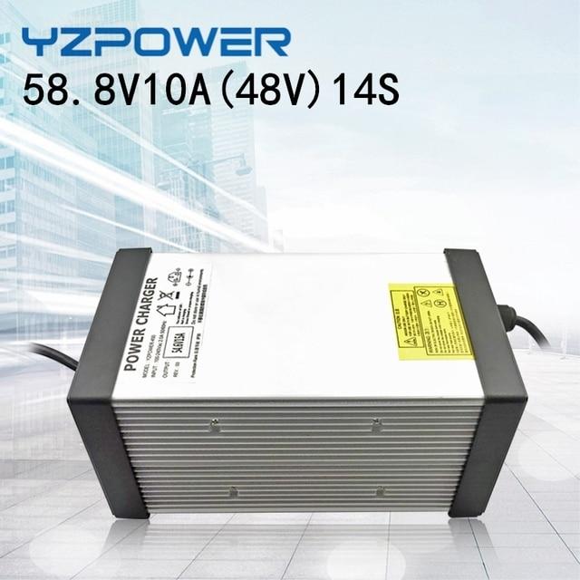 YZPOWER 14S 58.8V 10A 11A 12A 13A 14A 15A ליתיום ליתיום Lipo סוללה מטען עבור 48V סוללה