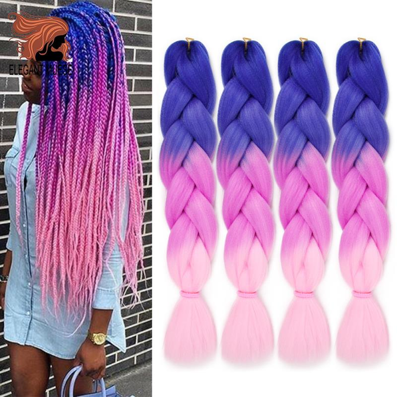 ELEGANT MUSES 6 Pcs  Synthetic Hair Braids Ombre Crochet Braiding Hair Extension Box Braids Hair 24inch 100g Jumbo Braid