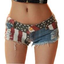 TASTIEN Plus Size Shorts Women Denim Jeans Summer Mini Super Sexy USA Flag Hotpants Hole Destroyed Booty Short Feminino mujer