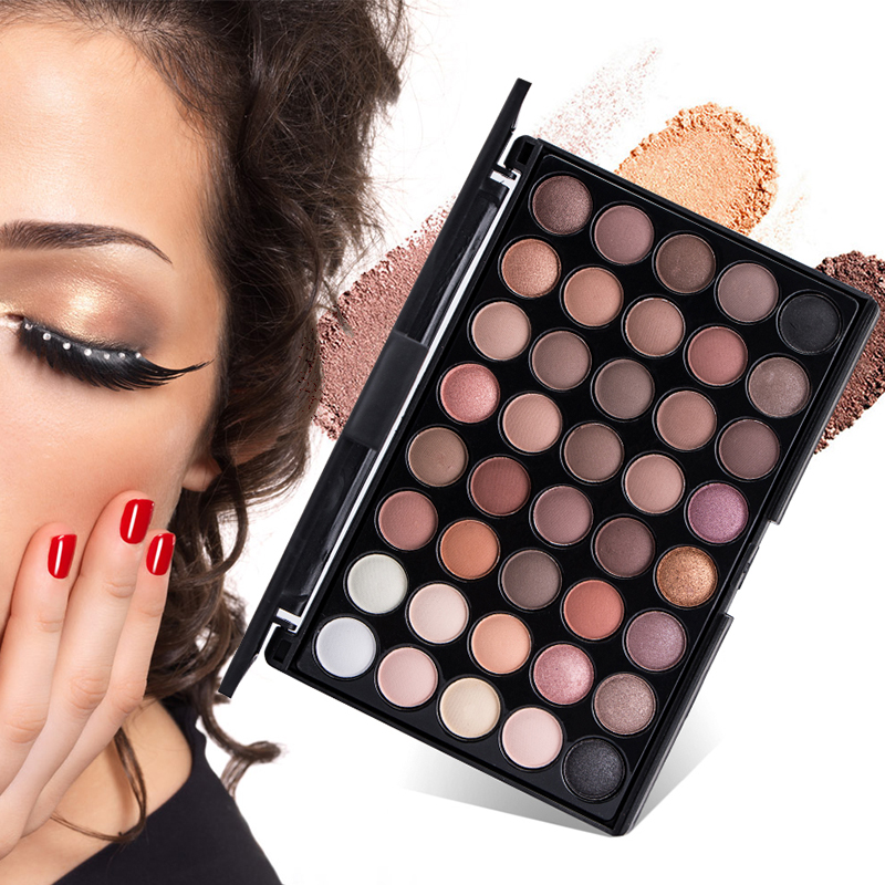 Nude Matte Eyeshadow Pallete 40Colors Earth Color Shimmer Glitter Earth Eye Shadow Power Set Cosmetic Eye Makeup Tools TSLM1