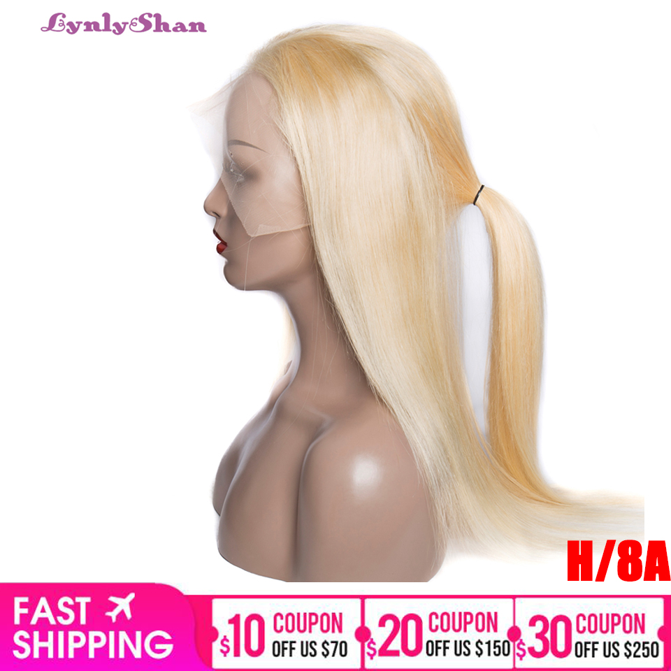 Lynlyshan Hair 613 Blond Full Lace Wig Malaysian Straight Human Hair Wig Remy Human Hair 150% Density Flull Lace Wigs for Women image