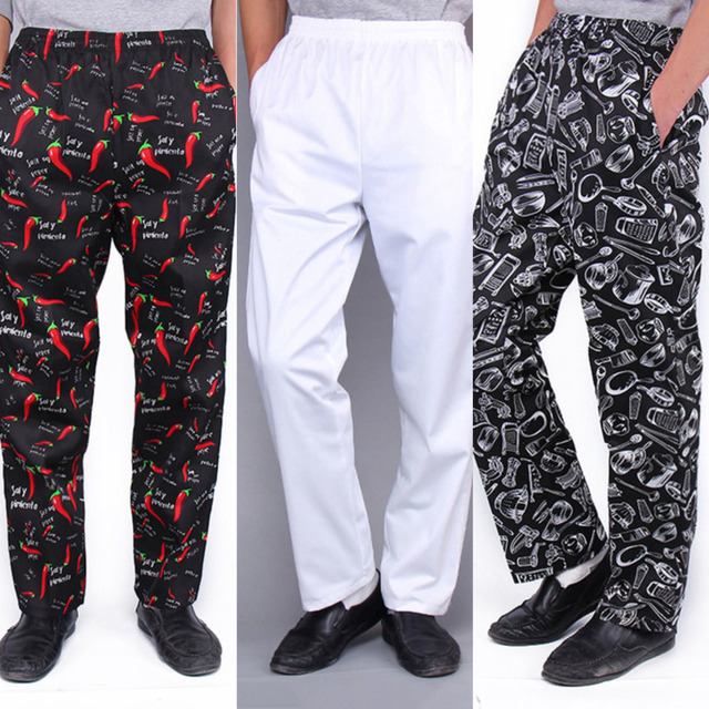 2020 Chef Trousers Food Service Checked Striped Pants Elastic Peppers Restaurant Kitchen Pants Bakery Stretch Work Wear Uniform