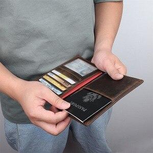 Image 2 - Обложка для паспорта из натуральной кожи, многофункциональная сумка для сертификата, дорожный кошелек, кошелек унисекс для карт, держатель для билета, кожа Crazy Horse