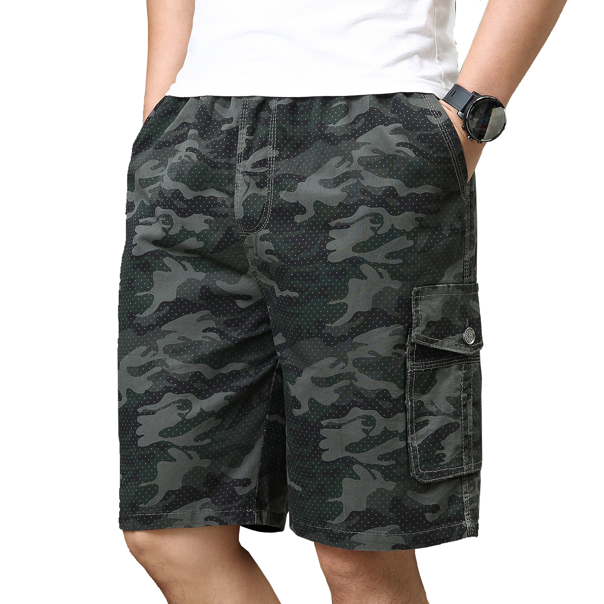 Men's New Fashion Summer Large Size Camouflage Pure Cotton Shorts For Middle-aged And Old People Casual Sport Jogging Shorts