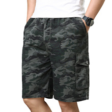 Men's New fashion summer large size camouflage Pure cotton shorts for middle-aged and old people Casual Sport Jogging Shorts casual camouflage pattern middle waisted shorts