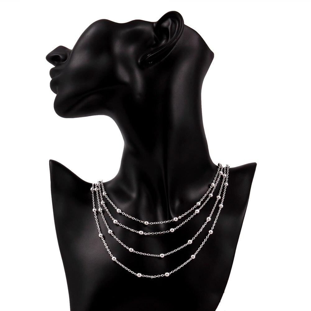 Fashion 925 Plaqué Argent Bijoux 5 Chaîne Perles Bracelet Pour Femmes H234