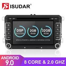 Isudar 2 Din otomobil radyosu Android 9 VW/Golf/Tiguan/Skoda/Fabia/hızlı/koltuk/Leon/Skoda araba GPS multimedya Octa çekirdek ROM 32GB DVR