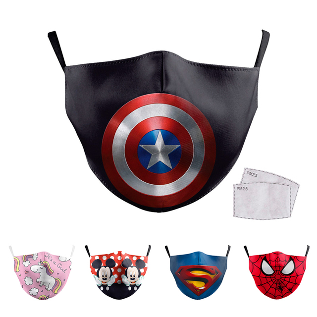 Face Mouth Mask Reusable Breathable Cotton Protective Children Kid Cartoon Cute PM2.5 Anti-Dust Mouth Face Mask