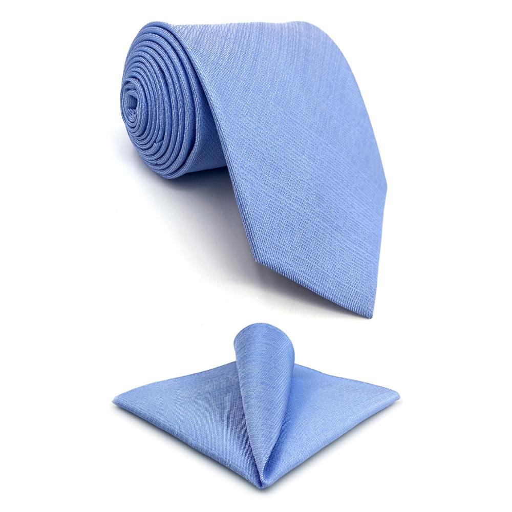 "D34 Light Blue Solid Silk Men Neckties Set Wedding Brand New Extra long size 63"" Classic Fashion Ties for male Hanky"
